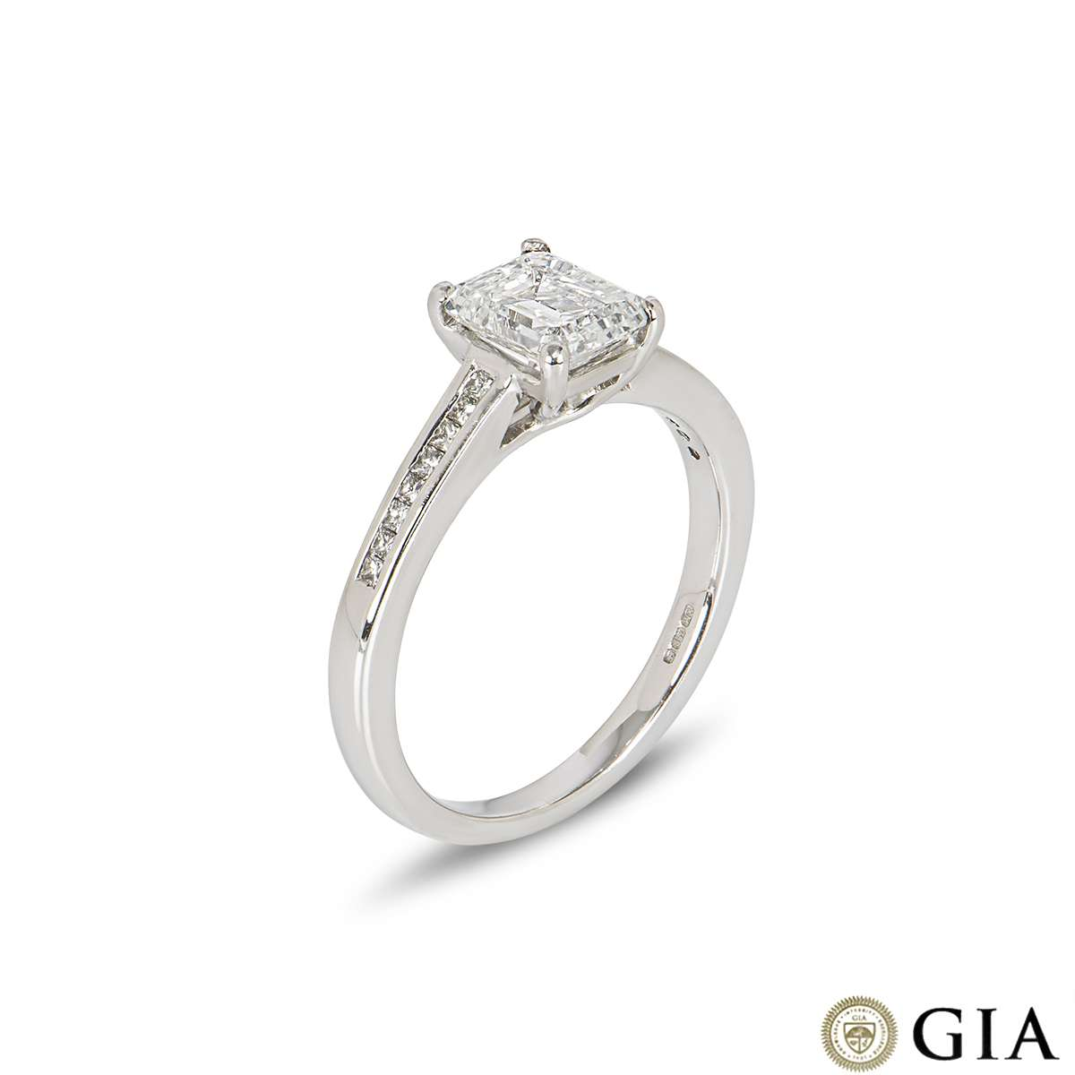 White Gold Emerald Cut Diamond Ring 1.12ct F/VVS2